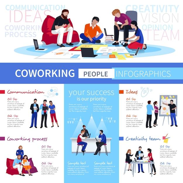 Coworking mensen flat infographic poster Gratis Vector