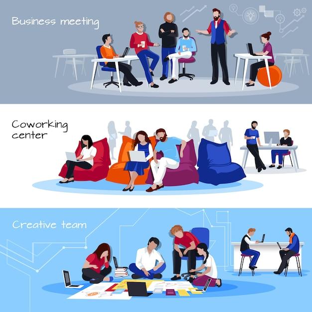 Coworking mensen platte horizontale banners Gratis Vector