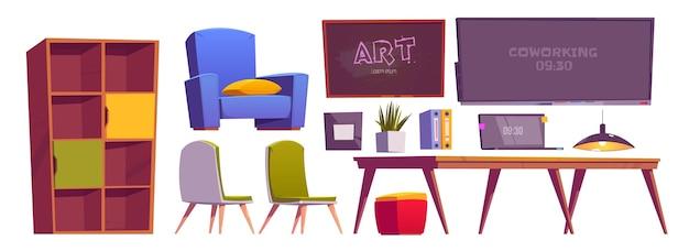 Coworking ruimte interieur spullen, meubels en apparatuur laptop Gratis Vector