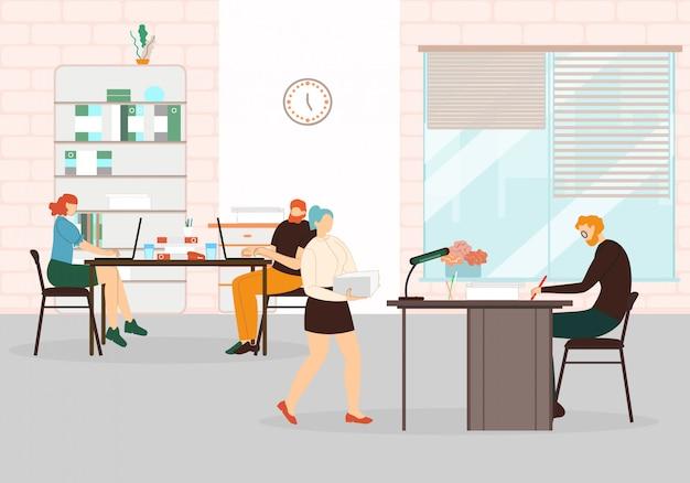 Coworking space interior met werknemers en baas. Premium Vector
