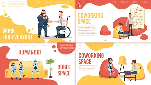 Coworking space, werkgelegenheid webpagina's set Premium Vector