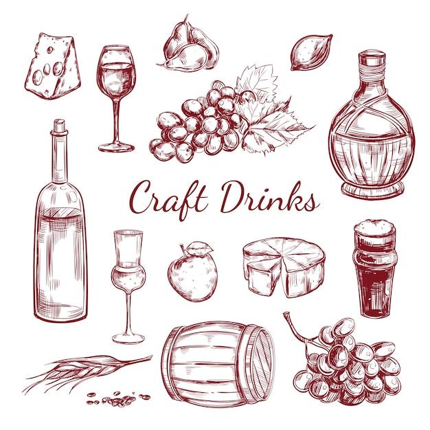 Craft drink sketch elements set Gratis Vector