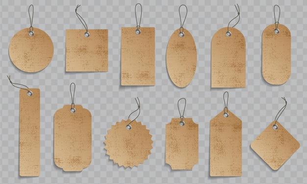 Craft paper prijs tikkeltje set. papieren prijsetiketten met koord. Premium Vector