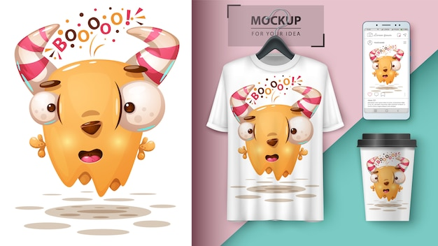 Crazy monster illustratie voor cup, t-shirt en smartphone behang Premium Vector