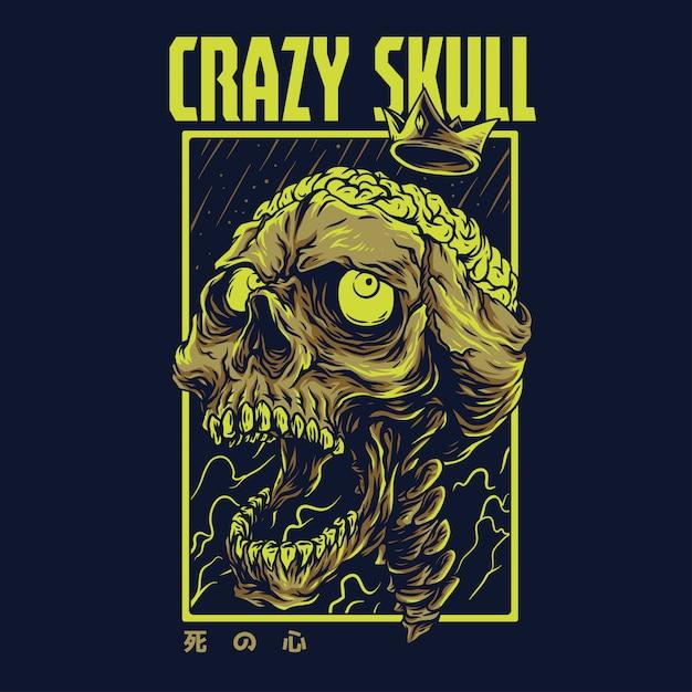 Crazy skull remastered illustratie Premium Vector