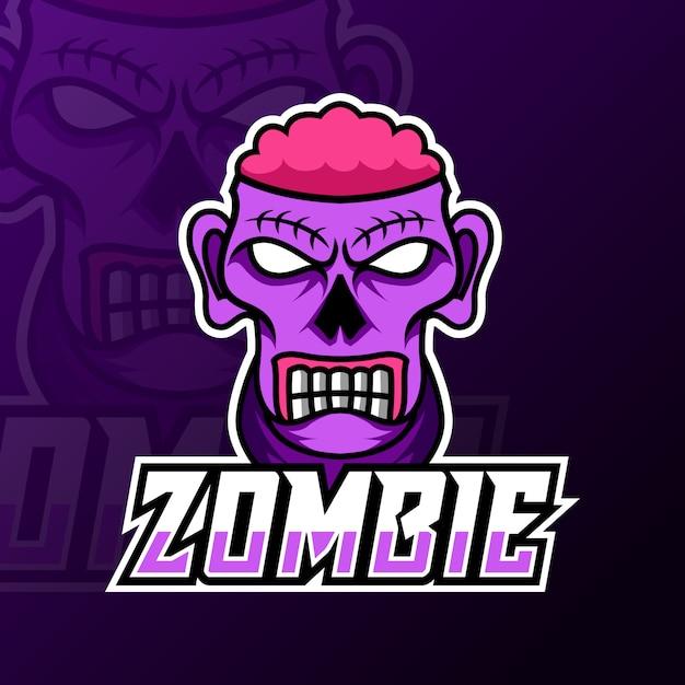 Crazy zombie enge hersenen mascotte gaming logo sjabloon Premium Vector