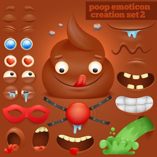Creatie set van cartoon poep emoticon karakter. Premium Vector