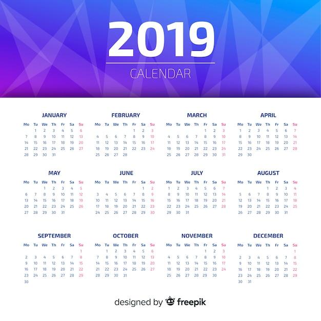 Creatief 2019 kalenderontwerp Gratis Vector