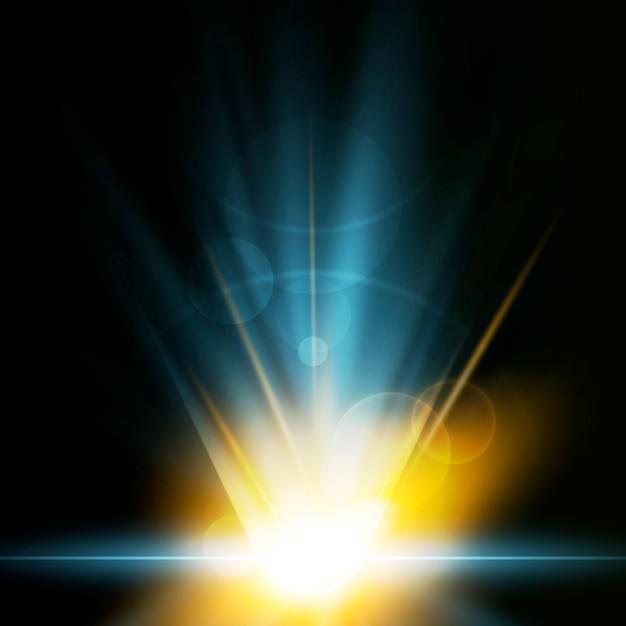 Creatief aarde zonsopgang lichteffect Gratis Vector