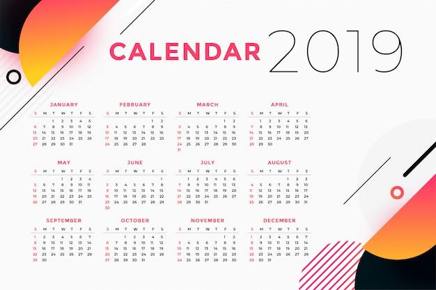 Creatief abstract de kalenderontwerp van 2019 Gratis Vector