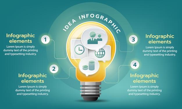 Creatief bedrijfsdoel groeien, vector infographic sjabloon met gloeilamp Premium Vector