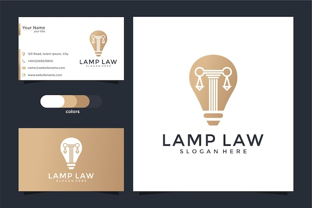 Creatief bollamp en pijlerlogo en visitekaartjeontwerp Premium Vector