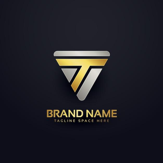 Creatief brief t logo concept ontwerp Gratis Vector