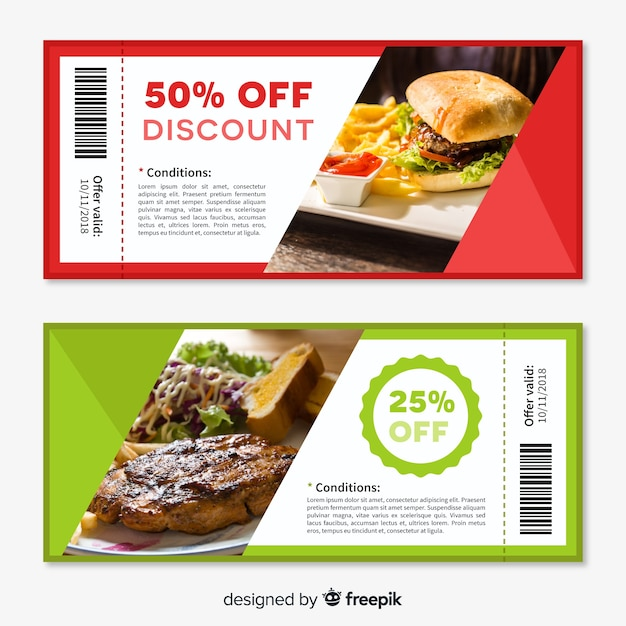 Creatief coupon sjabloonontwerp Gratis Vector
