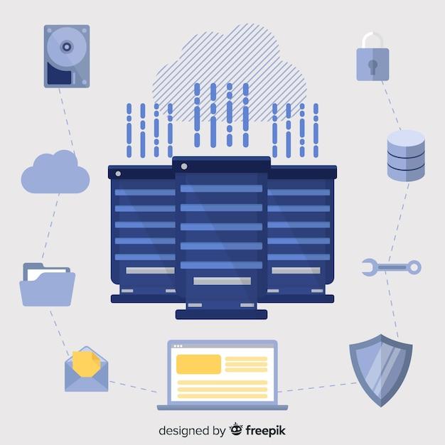 Creatief data hosting concept Gratis Vector