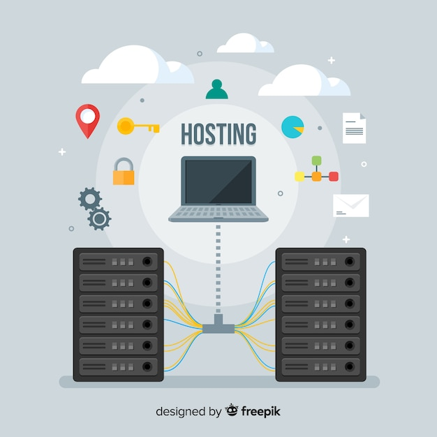 Creatief data hosting concept Gratis Vector