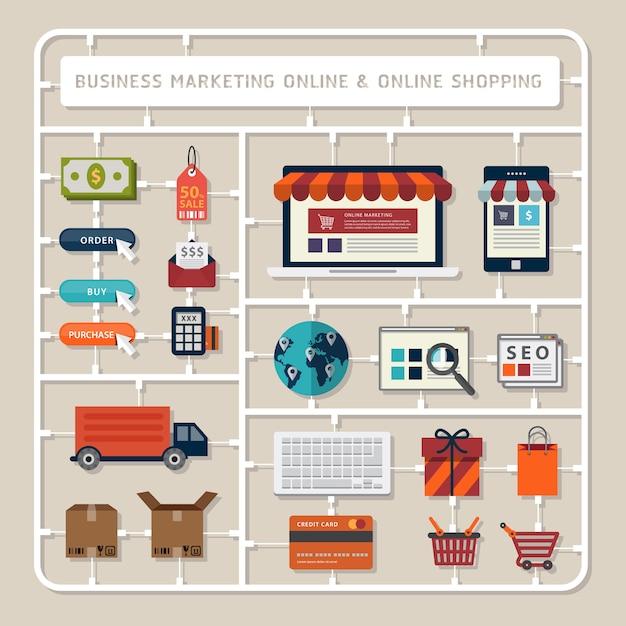 Creatief denkende plat ontwerp model kits voor zakelijke marketing online en online shopping tools Premium Vector