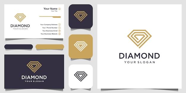 Creatief diamond concept template en visitekaartje Premium Vector