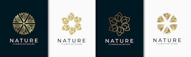 Creatief elegant blad en bloem roos logo ontwerp voor schoonheid, Premium Vector