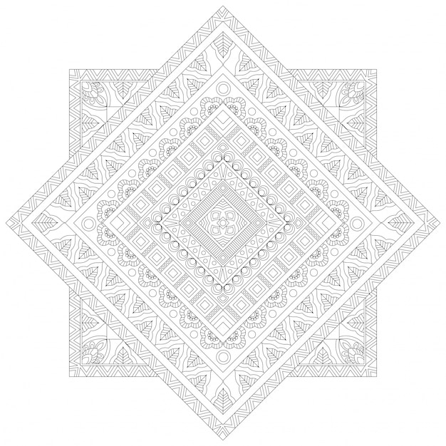 Creatief floral mandala ontwerp, etnische sierpatroon voor kleurboek, mooi decoratief element in vierkante vorm. Gratis Vector