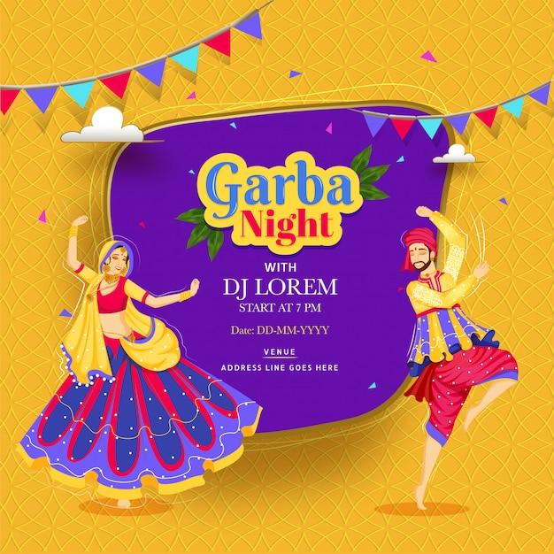 Creatief garba night-affiche of uitnodigingskaartontwerp met paar die op abstract bakground en gebeurtenisdetail dansen. Premium Vector