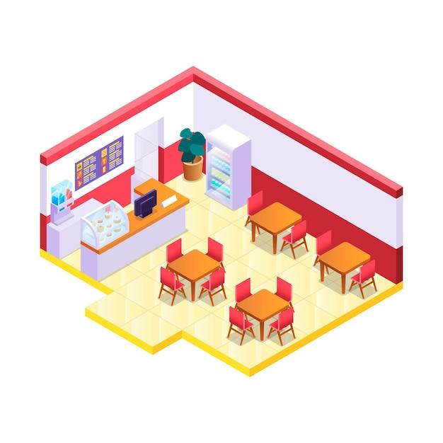 Creatief geïllustreerd isometrisch restaurant Gratis Vector