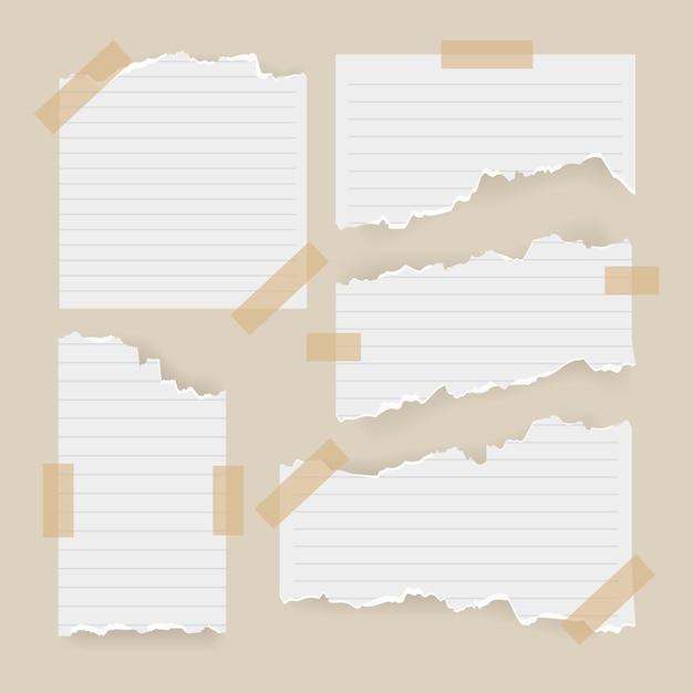Creatief gescheurd papier met plakband Gratis Vector