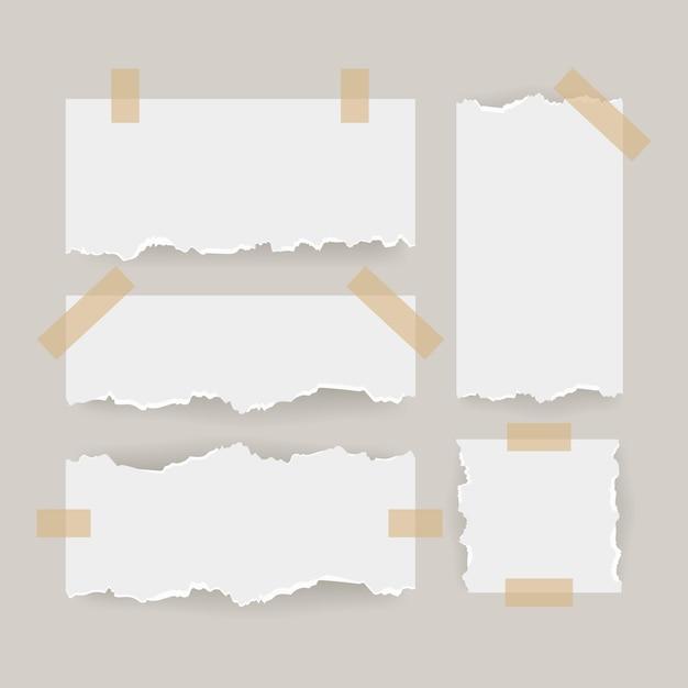 Creatief gescheurd papier met tape set Gratis Vector
