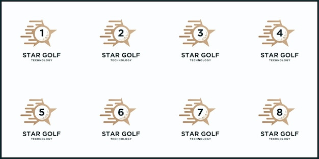 Creatief golfsterbal en sportlogo instellen Premium Vector