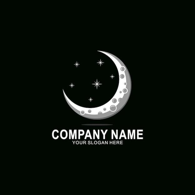 Creatief halve maan logo Premium Vector