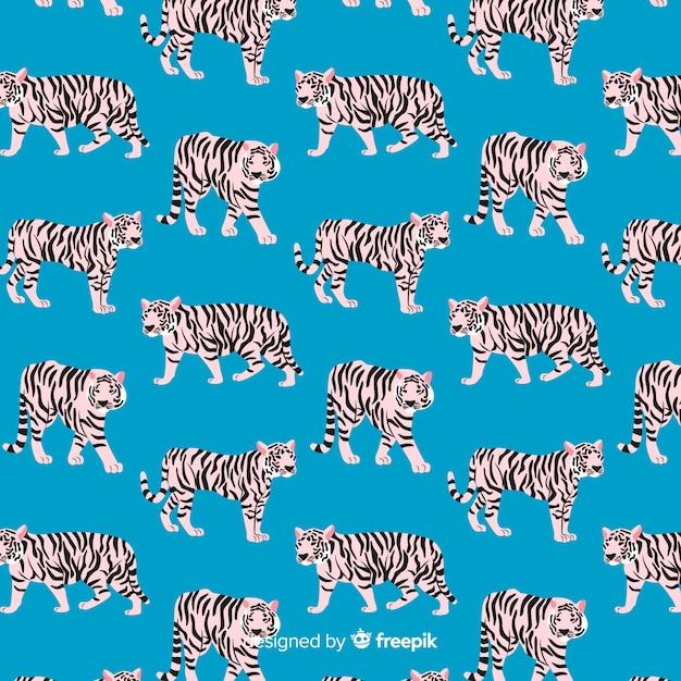 Creatief hand getrokken tijgerpatroon Gratis Vector