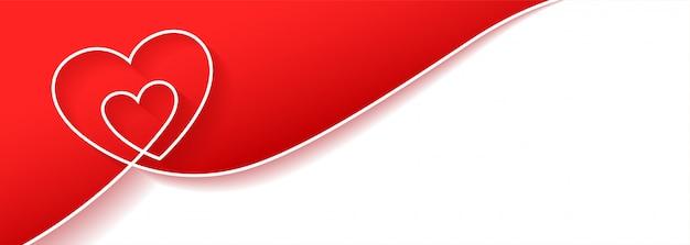 Creatief hart achtergrondbannerontwerp met tekstruimte Gratis Vector