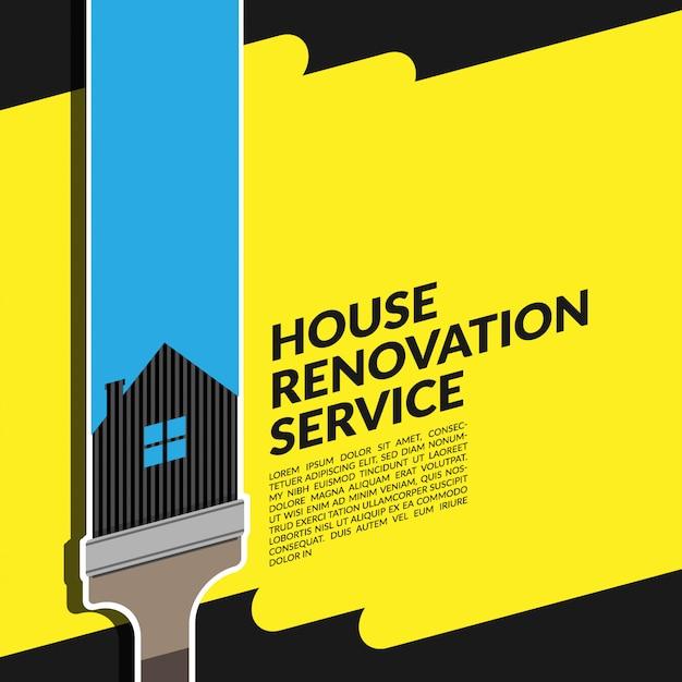 Creatief huis renovatie dienst blauw logo Premium Vector