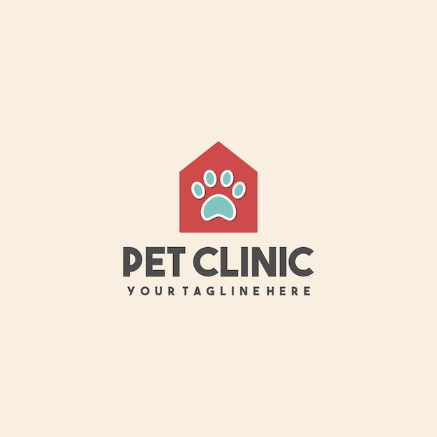 Creatief huisdier kliniek huis logo Premium Vector