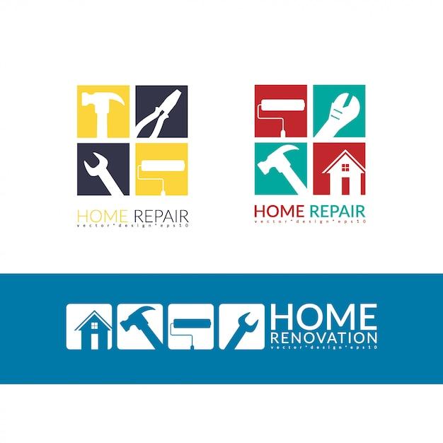 Creatief huisreparatie logo Premium Vector