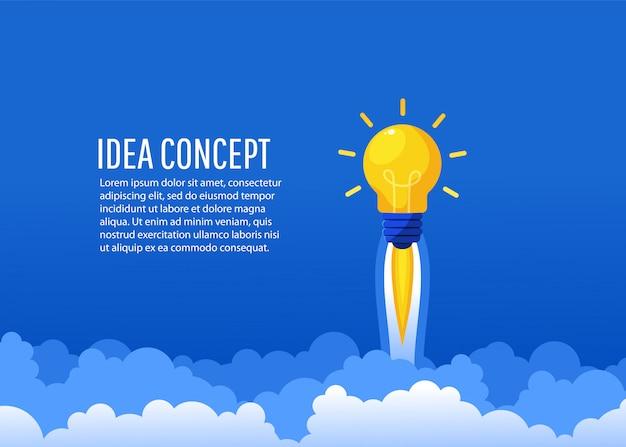 Creatief idee raket vliegt de lucht in. opstarten, een nieuw concept, vlakke lay-stijl, illustratie maken Premium Vector