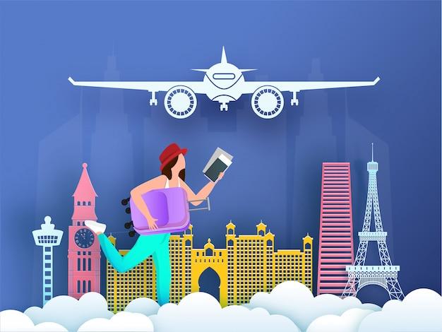 Creatief illustratieontwerp met de beroemde monumenten van het buitenland Premium Vector