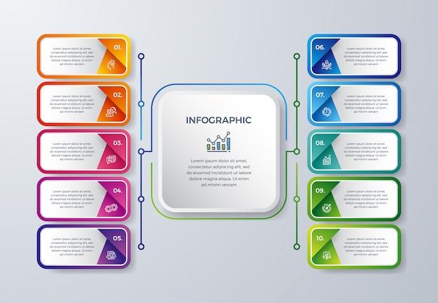 Creatief infographic ontwerp met 10 proceskeuzes of stappen. Premium Vector