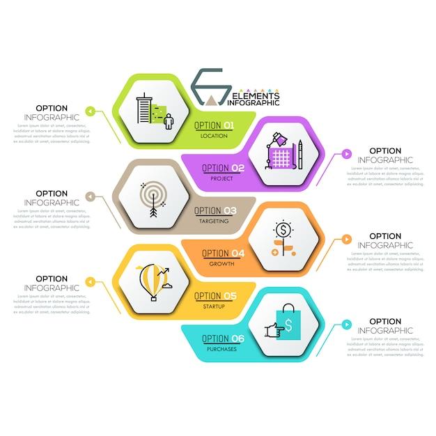 Creatief infographic ontwerpsjabloon met 6 zeshoekige elementen Premium Vector