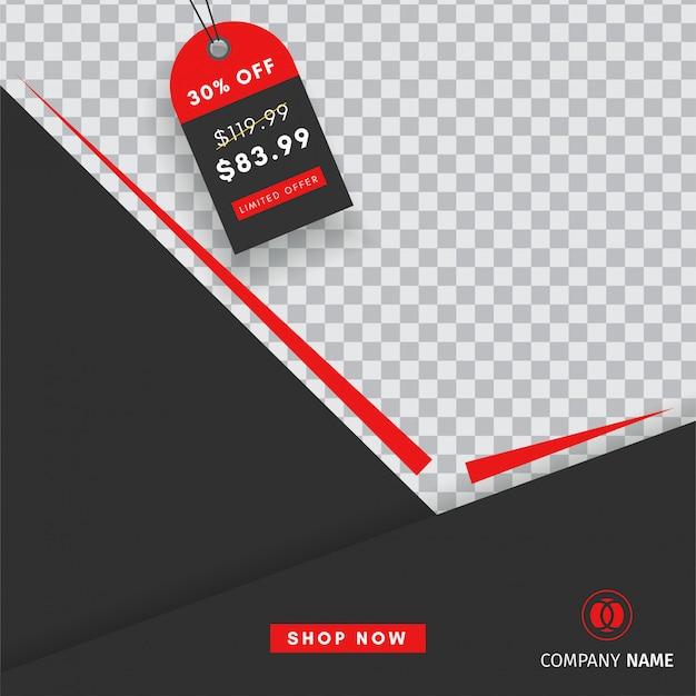 Creatief instagram-postverkoopsjabloon met een lege abstracte banner Premium Vector