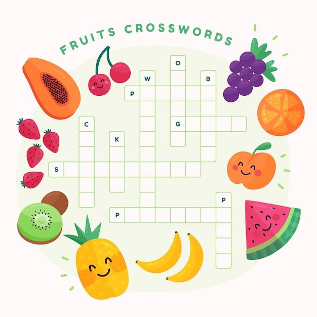 Creatief kruiswoordraadsel in het engels met fruit Gratis Vector