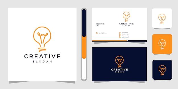 Creatief logo ontwerp en visitekaartje met gloeilamp Premium Vector