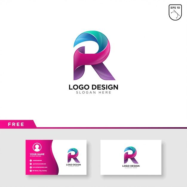 Creatief logo van letter r met kleurverloop Premium Vector