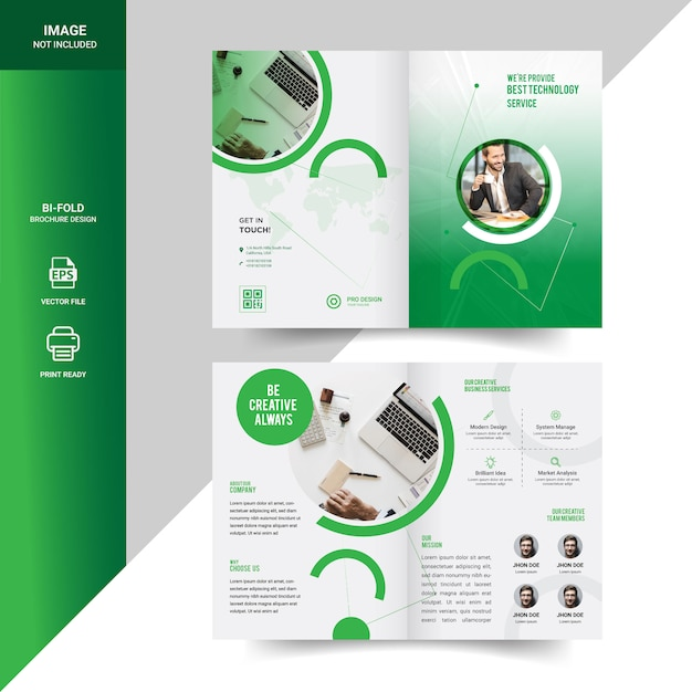 Creatief ontwerp met gevouwen brochuremalplaatje in geventileerde stijl Premium Vector