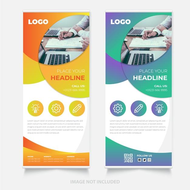 Creatief oprolbaar bannerontwerp Premium Vector