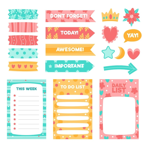 Creatief planner plakboek elementen pack Gratis Vector