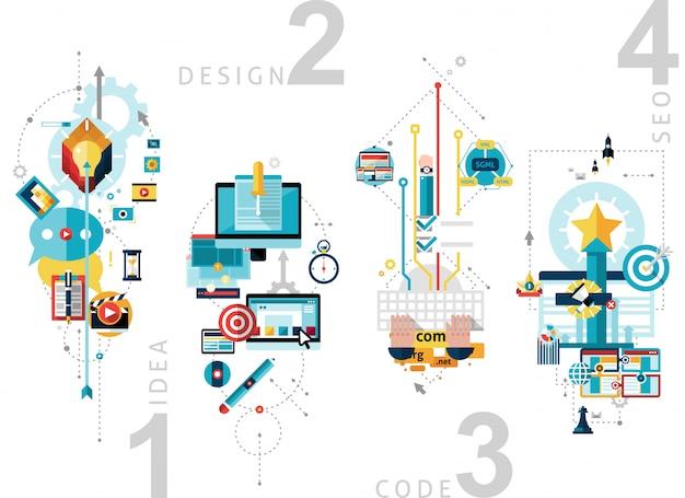 Creatief proces banners set Gratis Vector