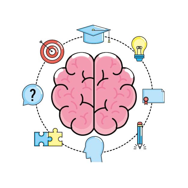 Creatief proces instellen en brainstormen over de uitvinding Premium Vector