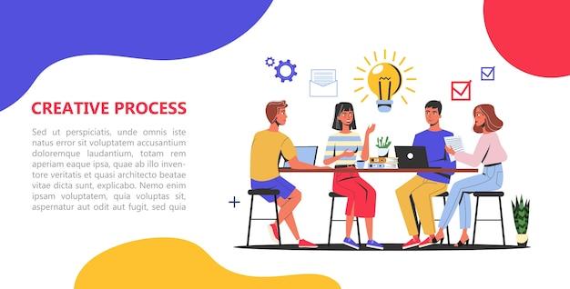 Creatief proces webbanner concept. zakelijk team Premium Vector