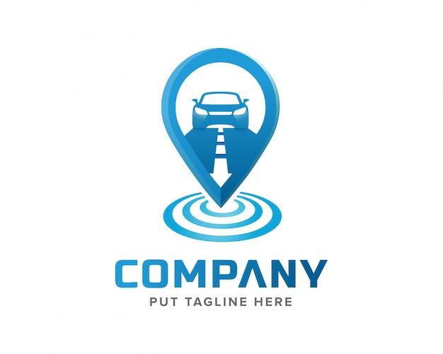 Creatief sjabloon signaal volgen en auto logo ontwerp Premium Vector